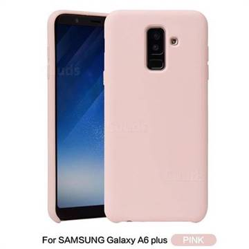 meet 39123 b18cc Howmak Slim Liquid Silicone Rubber Shockproof Phone Case Cover for Samsung  Galaxy A6 Plus (2018) - Pink