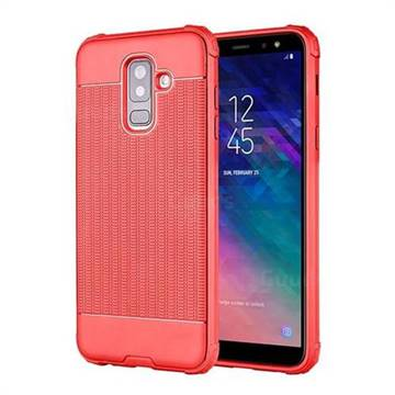 Luxury Shockproof Rubik Cube Texture Silicone TPU Back Cover for Samsung  Galaxy A6 Plus (2018) - Red