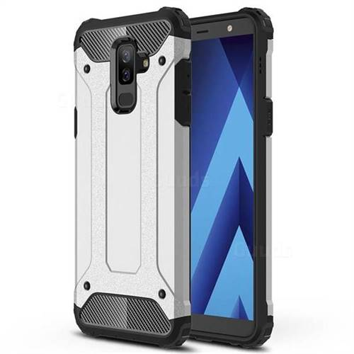 King Kong Armor Premium Shockproof Dual Layer Rugged Hard Cover for Samsung Galaxy A6 Plus (2018) - Technology Silver