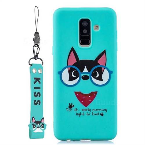 Green Glasses Dog Soft Kiss Candy Hand Strap Silicone Case for Samsung Galaxy A6 Plus (2018)
