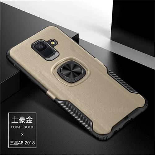 Knight Armor Anti Drop PC + Silicone Invisible Ring Holder Phone Cover for Samsung Galaxy A6 Plus (2018) - Champagne