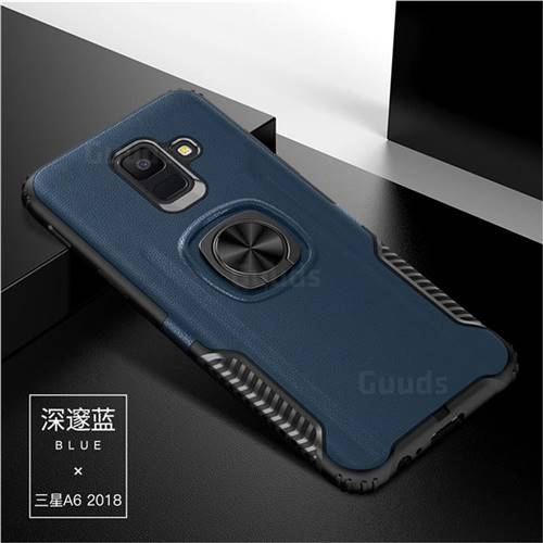 Knight Armor Anti Drop PC + Silicone Invisible Ring Holder Phone Cover for Samsung Galaxy A6 Plus (2018) - Sapphire