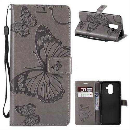 Embossing 3D Butterfly Leather Wallet Case for Samsung Galaxy A6 Plus (2018) - Gray