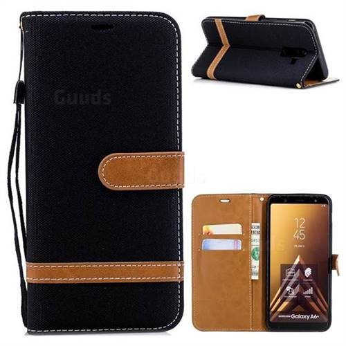 Jeans Cowboy Denim Leather Wallet Case for Samsung Galaxy A6 Plus (2018) - Black