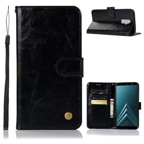 Luxury Retro Leather Wallet Case for Samsung Galaxy A6 Plus (2018) - Black