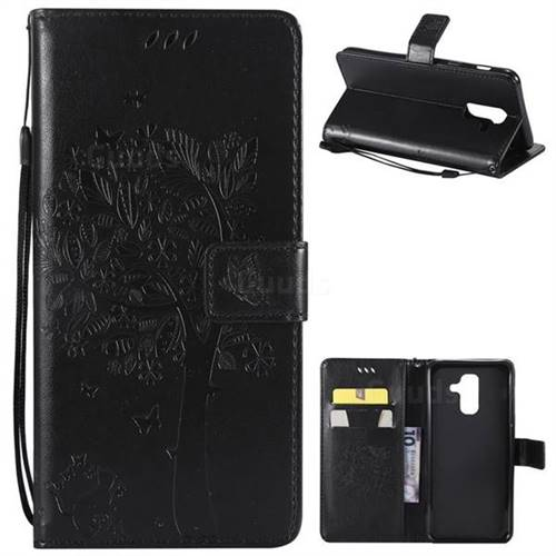 Embossing Butterfly Tree Leather Wallet Case for Samsung Galaxy A6 Plus (2018) - Black
