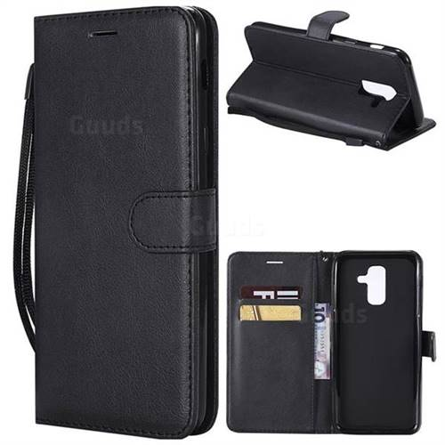 Retro Greek Classic Smooth PU Leather Wallet Phone Case for Samsung Galaxy A6 Plus (2018) - Black