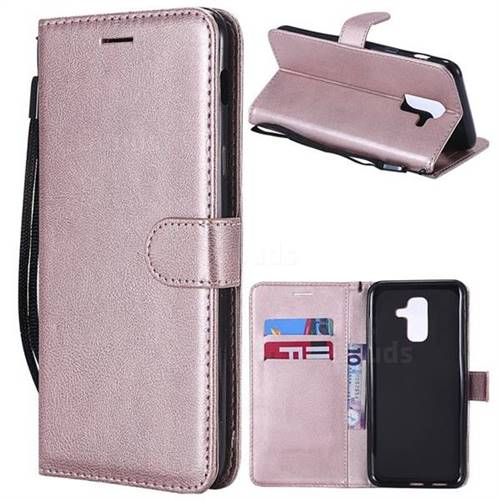 Retro Greek Classic Smooth PU Leather Wallet Phone Case for Samsung Galaxy A6 Plus (2018) - Rose Gold