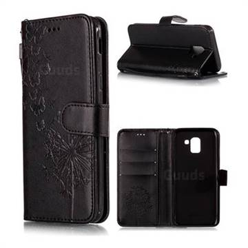 Intricate Embossing Dandelion Butterfly Leather Wallet Case for Samsung Galaxy A6+ (2018) - Black