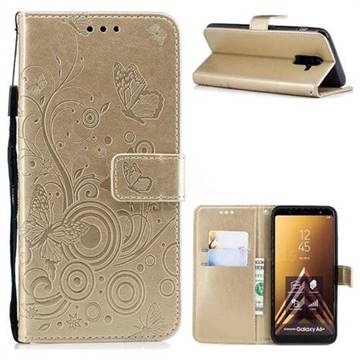 Intricate Embossing Butterfly Circle Leather Wallet Case for Samsung Galaxy A6 Plus (2018) - Champagne