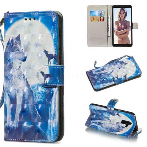 Ice Wolf 3D Painted Leather Wallet Phone Case for Samsung Galaxy A6 Plus (2018)