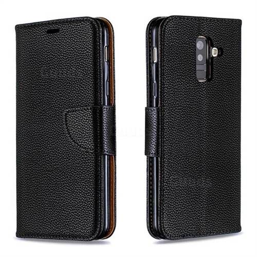 Classic Luxury Litchi Leather Phone Wallet Case for Samsung Galaxy A6 Plus (2018) - Black