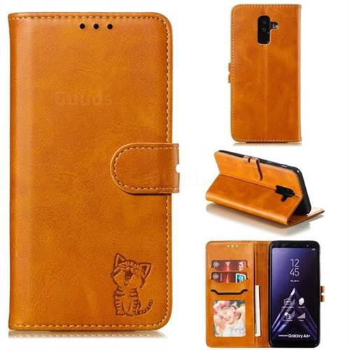 Embossing Happy Cat Leather Wallet Case for Samsung Galaxy A6 Plus (2018) - Yellow