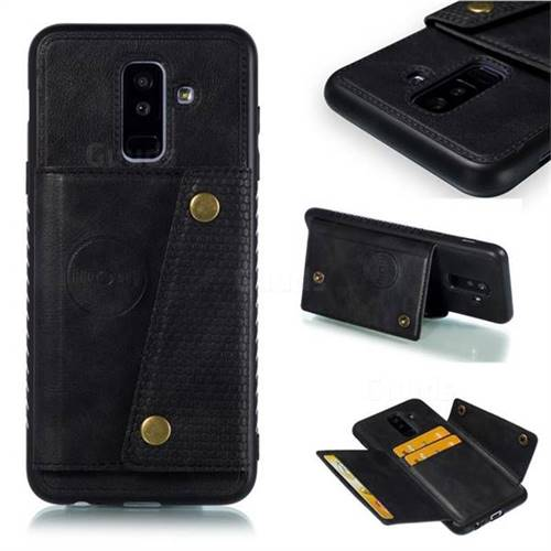 Retro Multifunction Card Slots Stand Leather Coated Phone Back Cover for Samsung Galaxy A6 Plus (2018) - Black
