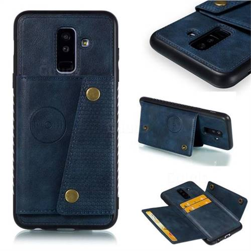 Retro Multifunction Card Slots Stand Leather Coated Phone Back Cover for Samsung Galaxy A6 Plus (2018) - Blue