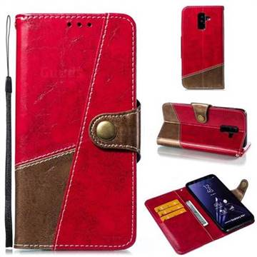 Retro Magnetic Stitching Wallet Flip Cover for Samsung Galaxy A6 Plus (2018) - Rose Red