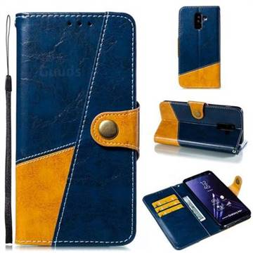 Retro Magnetic Stitching Wallet Flip Cover for Samsung Galaxy A6 Plus (2018) - Blue