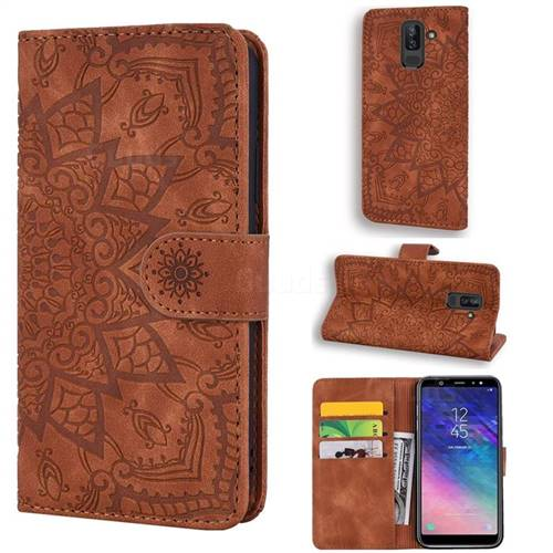 Retro Embossing Mandala Flower Leather Wallet Case for Samsung Galaxy A6  Plus (2018) - Brown - Leather case - Guuds