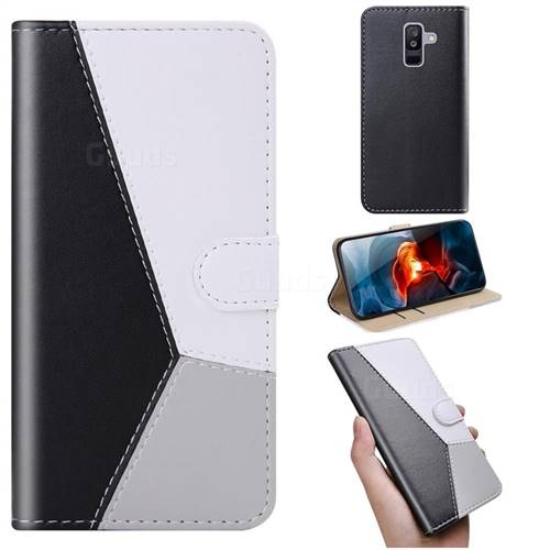 Tricolour Stitching Wallet Flip Cover for Samsung Galaxy A6 Plus (2018) - Black