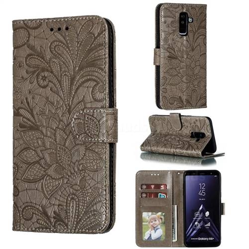 Intricate Embossing Lace Jasmine Flower Leather Wallet Case for Samsung Galaxy A6 Plus (2018) - Gray