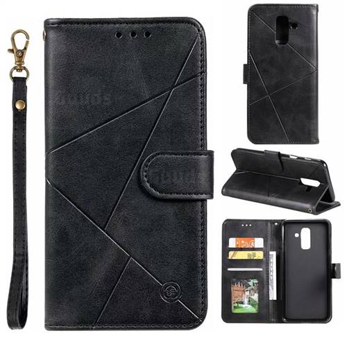 Embossing Geometric Leather Wallet Case for Samsung Galaxy A6 Plus (2018) - Black