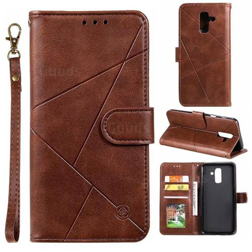 Embossing Geometric Leather Wallet Case for Samsung Galaxy A6 Plus (2018) - Brown
