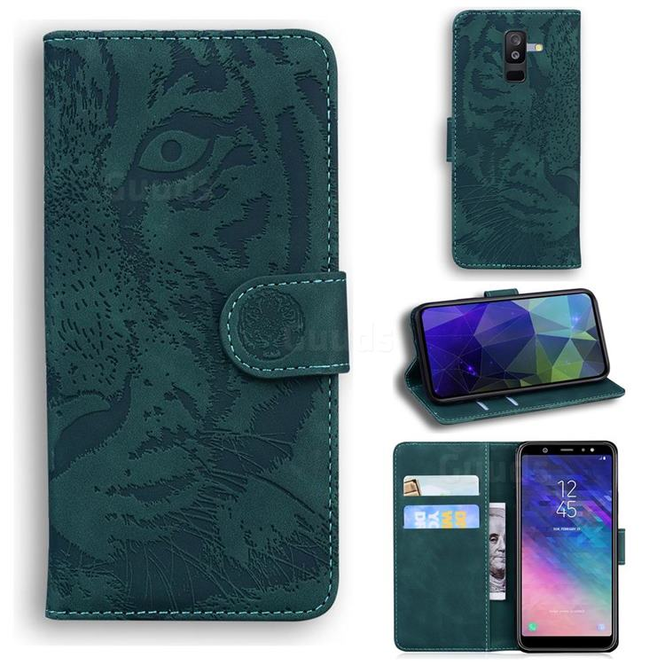 Intricate Embossing Tiger Face Leather Wallet Case for Samsung Galaxy A6 Plus (2018) - Green