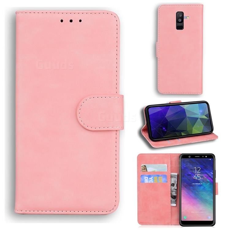 Retro Classic Skin Feel Leather Wallet Phone Case for Samsung Galaxy A6 Plus (2018) - Pink