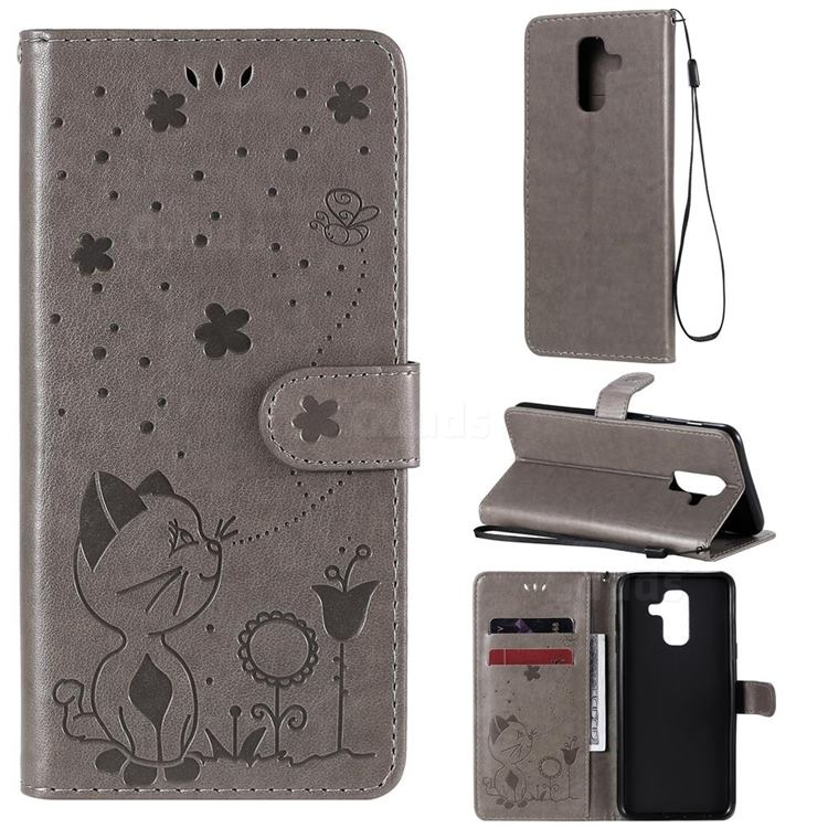 Embossing Bee and Cat Leather Wallet Case for Samsung Galaxy A6 Plus (2018) - Gray