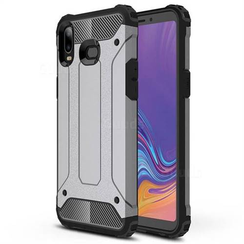 King Kong Armor Premium Shockproof Dual Layer Rugged Hard Cover for Samsung Galaxy A6s - Silver Grey