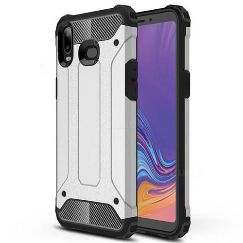 King Kong Armor Premium Shockproof Dual Layer Rugged Hard Cover for Samsung Galaxy A6s - Technology Silver