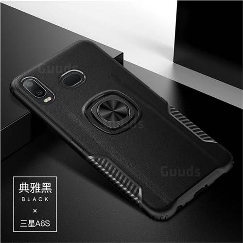 Knight Armor Anti Drop PC + Silicone Invisible Ring Holder Phone Cover for Samsung Galaxy A6s - Black