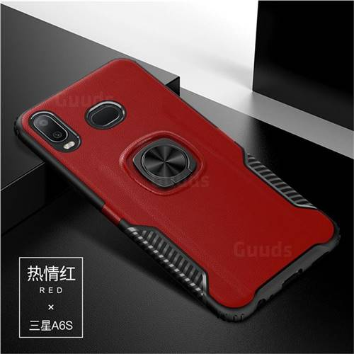Knight Armor Anti Drop PC + Silicone Invisible Ring Holder Phone Cover for Samsung Galaxy A6s - Red