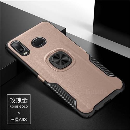 Knight Armor Anti Drop PC + Silicone Invisible Ring Holder Phone Cover for Samsung Galaxy A6s - Rose Gold