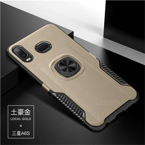Knight Armor Anti Drop PC + Silicone Invisible Ring Holder Phone Cover for Samsung Galaxy A6s - Champagne