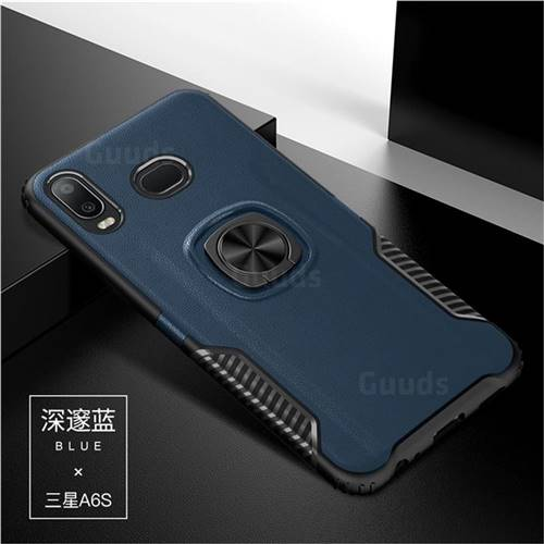 Knight Armor Anti Drop PC + Silicone Invisible Ring Holder Phone Cover for Samsung Galaxy A6s - Sapphire