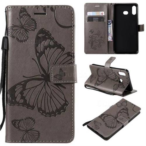 Embossing 3D Butterfly Leather Wallet Case for Samsung Galaxy A6s - Gray