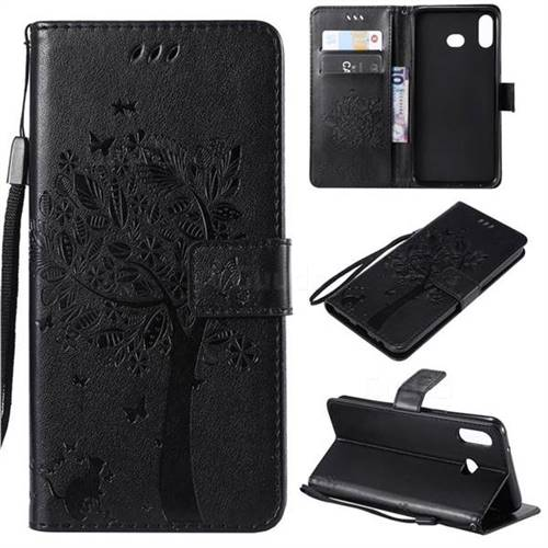 Embossing Butterfly Tree Leather Wallet Case for Samsung Galaxy A6s - Black