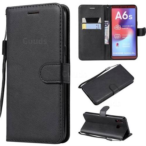 Retro Greek Classic Smooth PU Leather Wallet Phone Case for Samsung Galaxy A6s - Black
