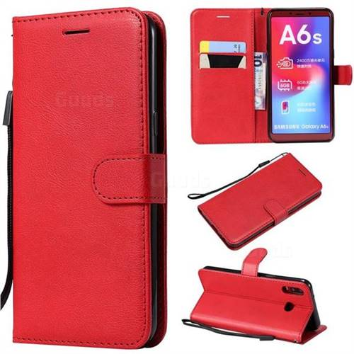 Retro Greek Classic Smooth PU Leather Wallet Phone Case for Samsung Galaxy A6s - Red