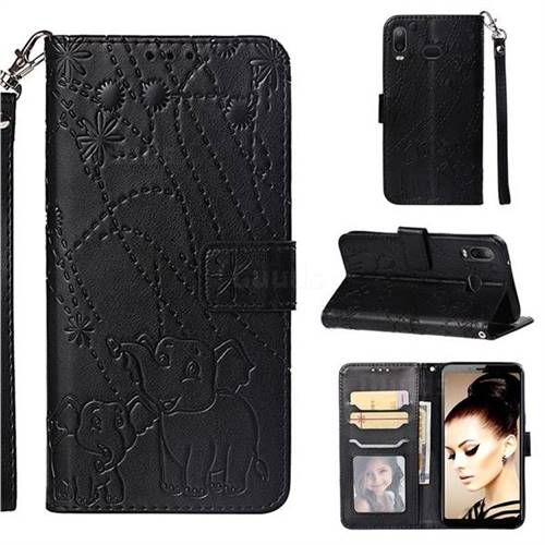 Embossing Fireworks Elephant Leather Wallet Case for Samsung Galaxy A6s - Black