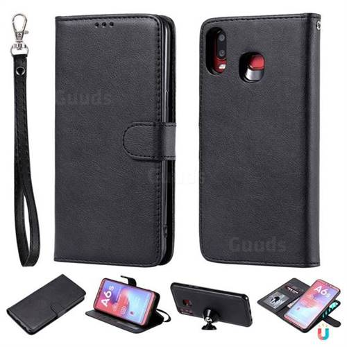 Retro Greek Detachable Magnetic PU Leather Wallet Phone Case for Samsung Galaxy A6s - Black