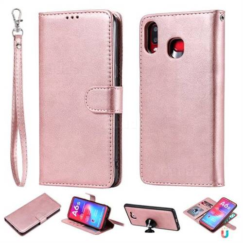Retro Greek Detachable Magnetic PU Leather Wallet Phone Case for Samsung Galaxy A6s - Rose Gold