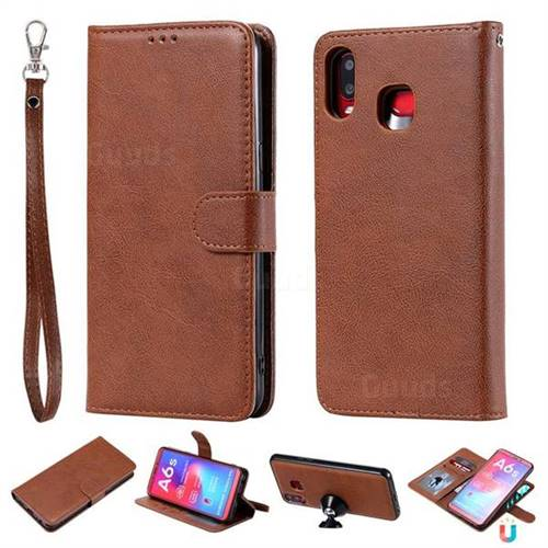 Retro Greek Detachable Magnetic PU Leather Wallet Phone Case for Samsung Galaxy A6s - Brown