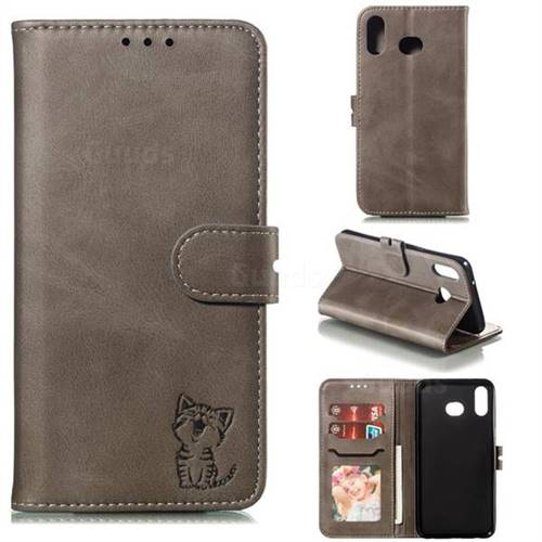 Embossing Happy Cat Leather Wallet Case for Samsung Galaxy A6s - Gray