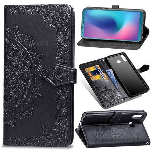 Embossing Imprint Mandala Flower Leather Wallet Case for Samsung Galaxy A6s - Black
