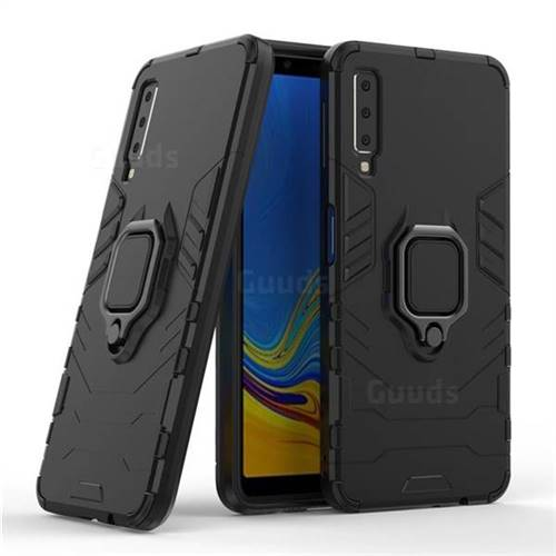 Black Panther Armor Metal Ring Grip Shockproof Dual Layer Rugged Hard Cover for Samsung Galaxy A7 2015 A700 - Black