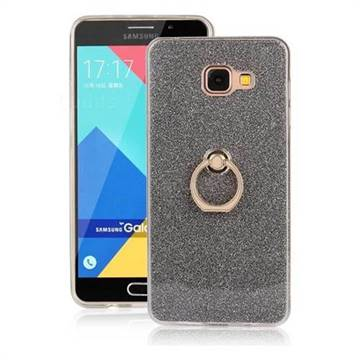 Luxury Soft TPU Glitter Back Ring Cover with 360 Rotate Finger Holder Buckle for Samsung Galaxy A7 2016 A710 - Black