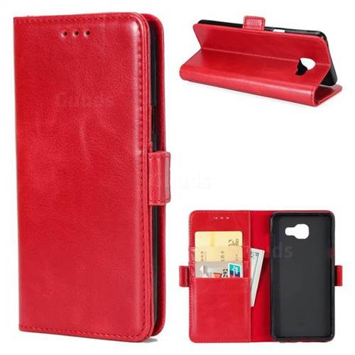 Luxury Crazy Horse PU Leather Wallet Case for Samsung Galaxy A7 2016 A710 - Red