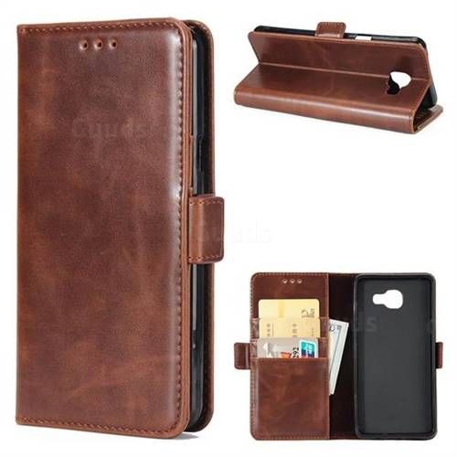 Luxury Crazy Horse PU Leather Wallet Case for Samsung Galaxy A7 2016 A710 - Coffee